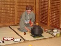 Our Kaiseki Ryori celebration begins with a traditional tea ceremony given by Linda Lighton, one of our class members.