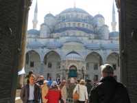 The entrance to the outer courtyard of the Blue Mosque.