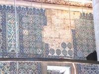 Large sections, throughout the mosque, are missing tiles. Years ago work crews were brought into the mosque to clean and restore the tile. Sadly, many of the tiles were stolen and never recovered.