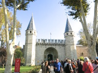 The crowded entrance to the lavish Topkapi Palace. Constructed in 1470; as the seat of the Ottoman Empire and home to the ruling Sultans for over 400 years.